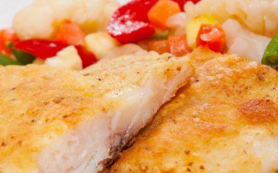 Pescado recheado com salada de batata